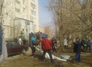 Камышинское ООО «Чистый двор» высадилось десантом для субботника на третьем городке