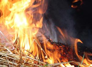 Вчера вечером в селе Саломатино Камышинского района кто-то поджег большой стог сена