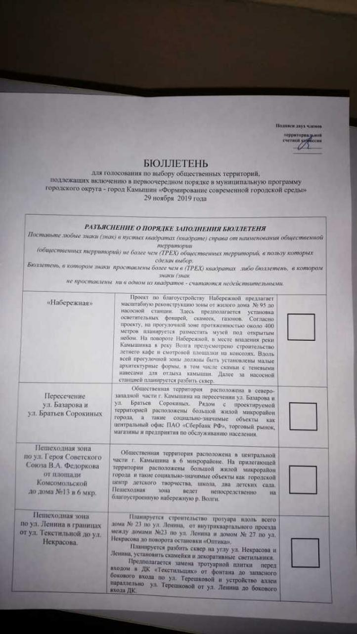 Камышан смутило оформление бюллетеней для голосования за площадки благоустройства