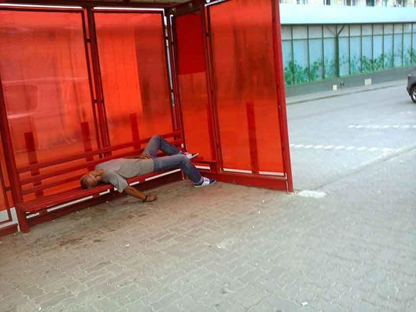 Уставшие от жизни камышане не прочь организовать себе тихий час прямо на автобусных остановках